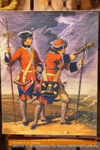 Рисунок гантлангер и бомбардир артиллерийского полка 1723 года Музей Вооруженных Сил в Москве