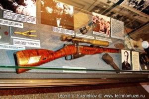 Стенд самой успешной женщины-снайпера в мировой истории Л.М.Павличенко Музей Вооруженных Сил в Москве