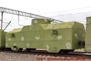 Одноорудийная бронеплощадка типа ОБ-3 бронепоезда на станции Чернь