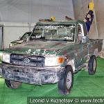 Направляющая НУРС на автомобиле на выставке сирийских трофеев в парке Патриот