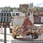 Восьмиствольная пусковая НУРС на автомобиле-пикапе на выставке сирийских трофеев в парке Патриот