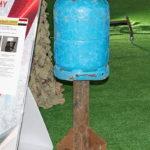 Самодельный боеприпас для баллономета на выставке сирийских трофеев в парке Патриот