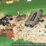 Пулеметы и оптические приборы наведения боевиков на выставке сирийских трофеев в парке Патриот
