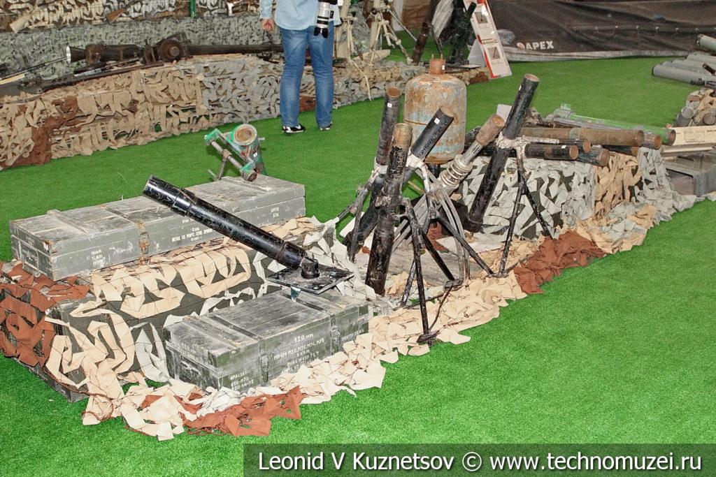 Минометы и ручные гранатометы боевиков на выставке сирийских трофеев в парке Патриот