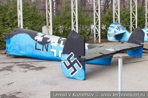 Хвостовая часть сбитого немецкого истребителя Messerschmitt Bf.110F-2 в музее Победы на Поклонной горе