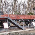 Двухосная платформа 1912 года № 282003 с полковой пушкой в музее Победы на Поклонной горе
