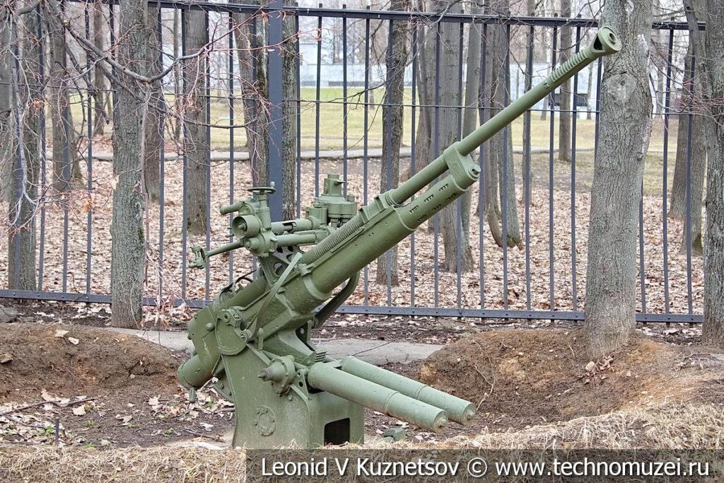 37-мм опытная автоматическая зенитная пушка 100-К 1938 года на позиции в музее Победы на Поклонной горе