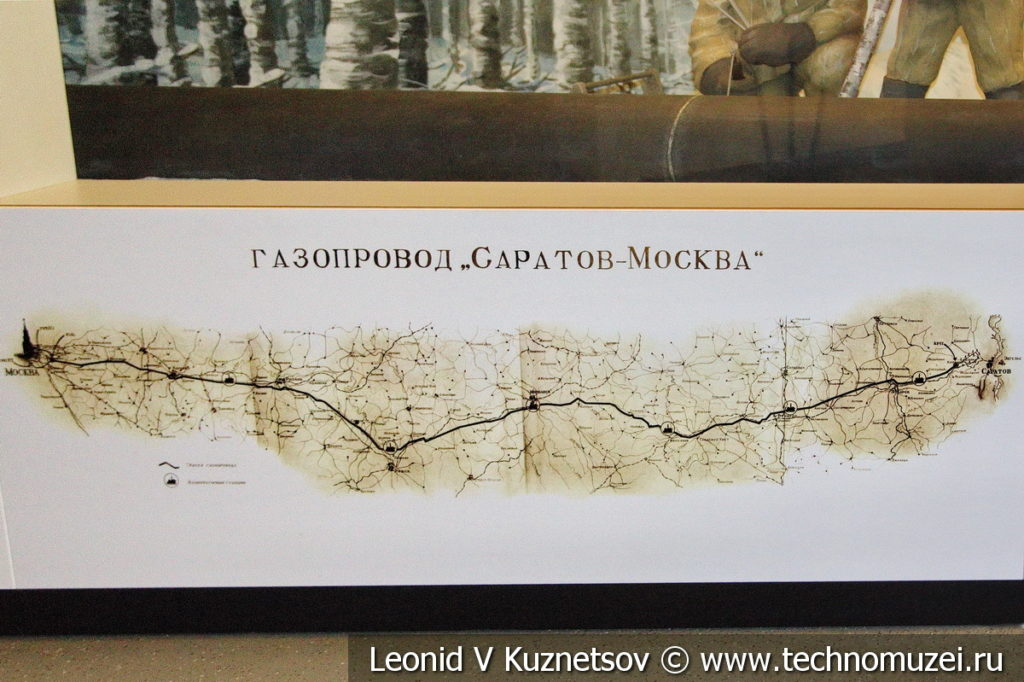 Карта газопровода Саратов-Москва в музее магистрального транспорта газа