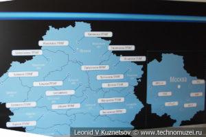 Карта линейных производственных управлений магистральных газопроводов в музее магистрального транспорта газа