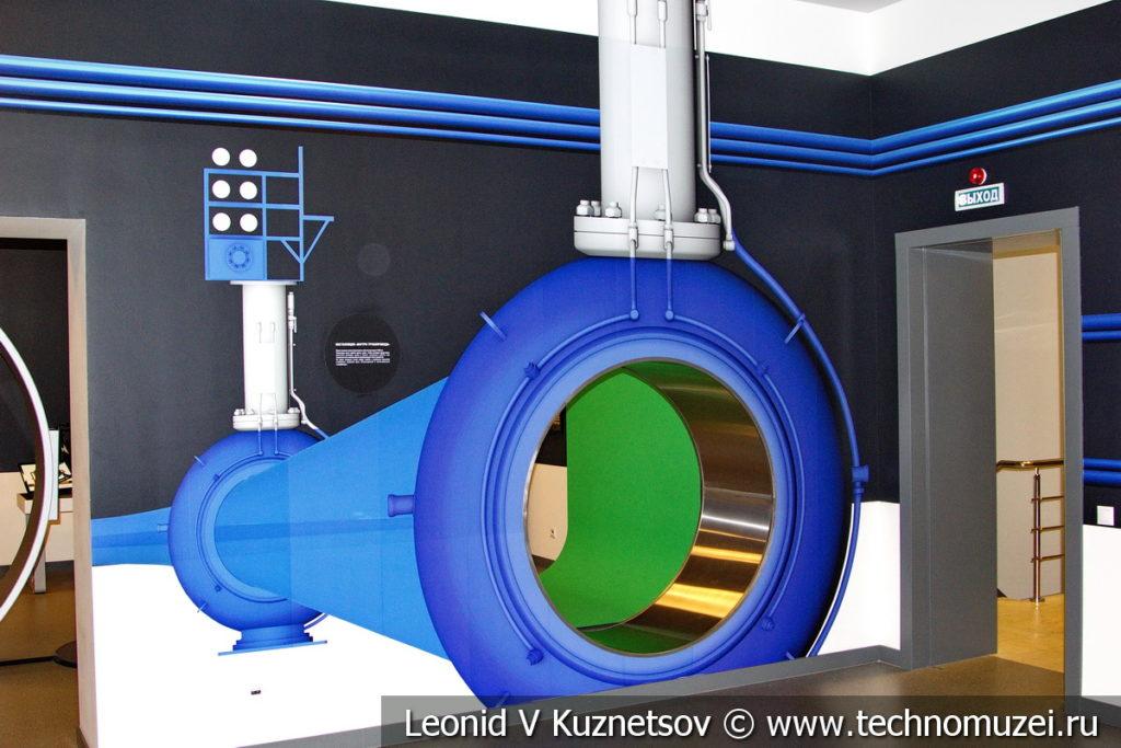 Макет Что внутри трубы магистрального газопровода в музее магистрального транспорта газа