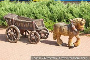 Скульптура Лошадь с повозкой на Тульской детской железной дороге