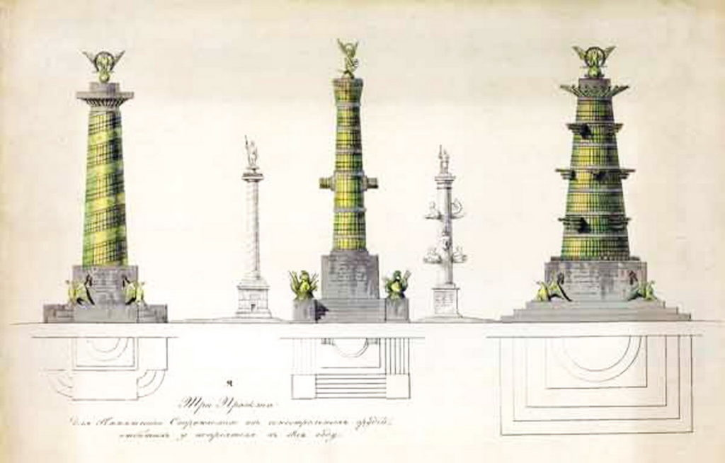 Проекты колонн из пушек Наполеона в Московском Кремле