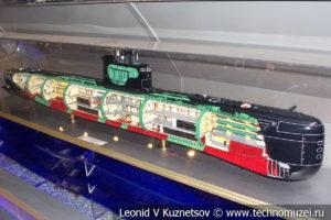 Макет подводной лодки Б-396 Новосибирский комсомолец в Музее Военно-морского флота в Москве