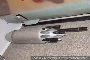 Подвесной блок УБ-1 с неуправляемыми ракетными снарядами в Центральном музее Вооруженных Сил