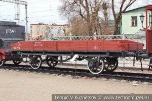 Германская двухосная платформа с откидными бортами 1917 года в Железнодорожном музее на Рижском вокзале