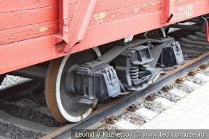 Грузовой крытый четырехосный вагон образца 1935 года №721-605 в Железнодорожном музее на Рижском вокзале