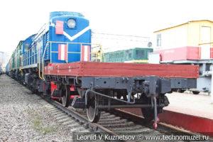 Технологическая двухосная платформа с неоткидными бортами в Железнодорожном музее на Рижском вокзале