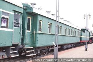 Четырехосный пассажирский вагон-салон в Железнодорожном музее на Рижском вокзале