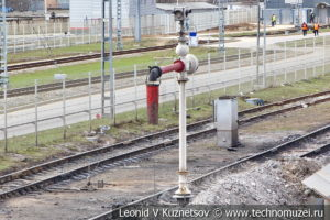 Гидроколонна и шлаковая канава в железнодорожном музее на станции Подмосковная