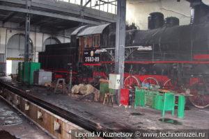 Ремонтный цех паровозного депо в железнодорожном музее на станции Подмосковная