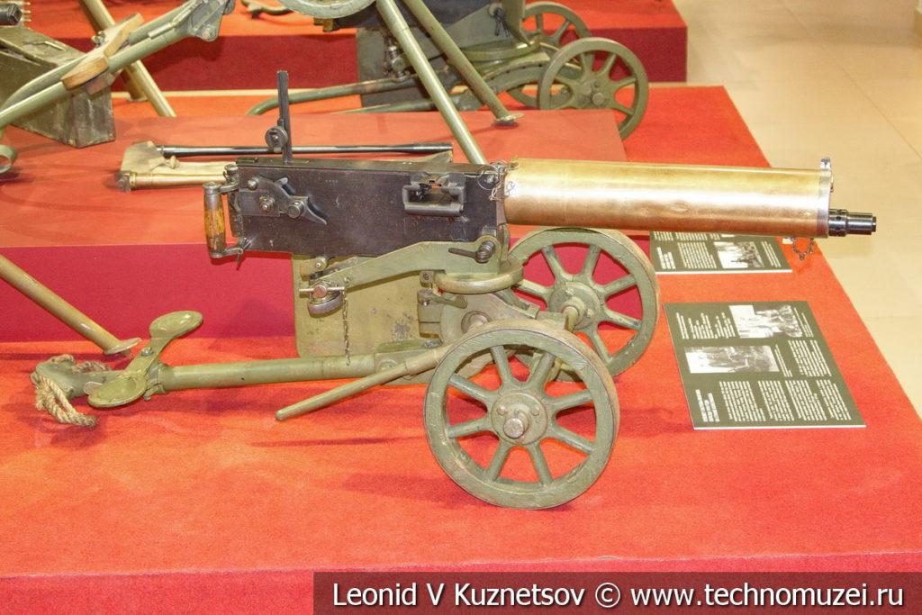 Пулемёт Максима образца 1910 года на станке Колесникова в музее отечественной военной истории в Падиково