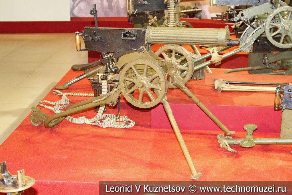 Пулемёт Максима образца 1910/30 года на станке Соколова раннего образца в музее отечественной военной истории в Падиково