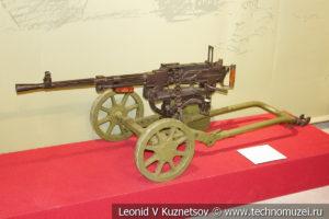 Модернизированный 7,62-мм станковый пулемёт Горюнова СГМ образца 1943 годана станке Малиновского/Сидоренко в музее отечественной военной истории в Падиково