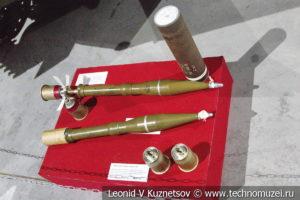 Противотанковая граната ПГ-15С, активно-реактивный выстрел ПГ-10 с гранатой ПГ-9С и стартовый пороховой заряд ПГ-15П в музее отечественной военной истории в Падиково
